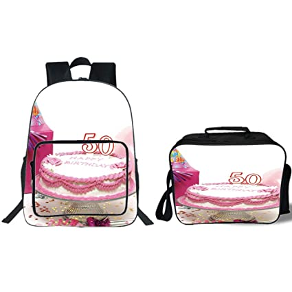 IPrint 19quot School Backpack Lunch Bag Bundle50th Birthday DecorationsDelicious Cake