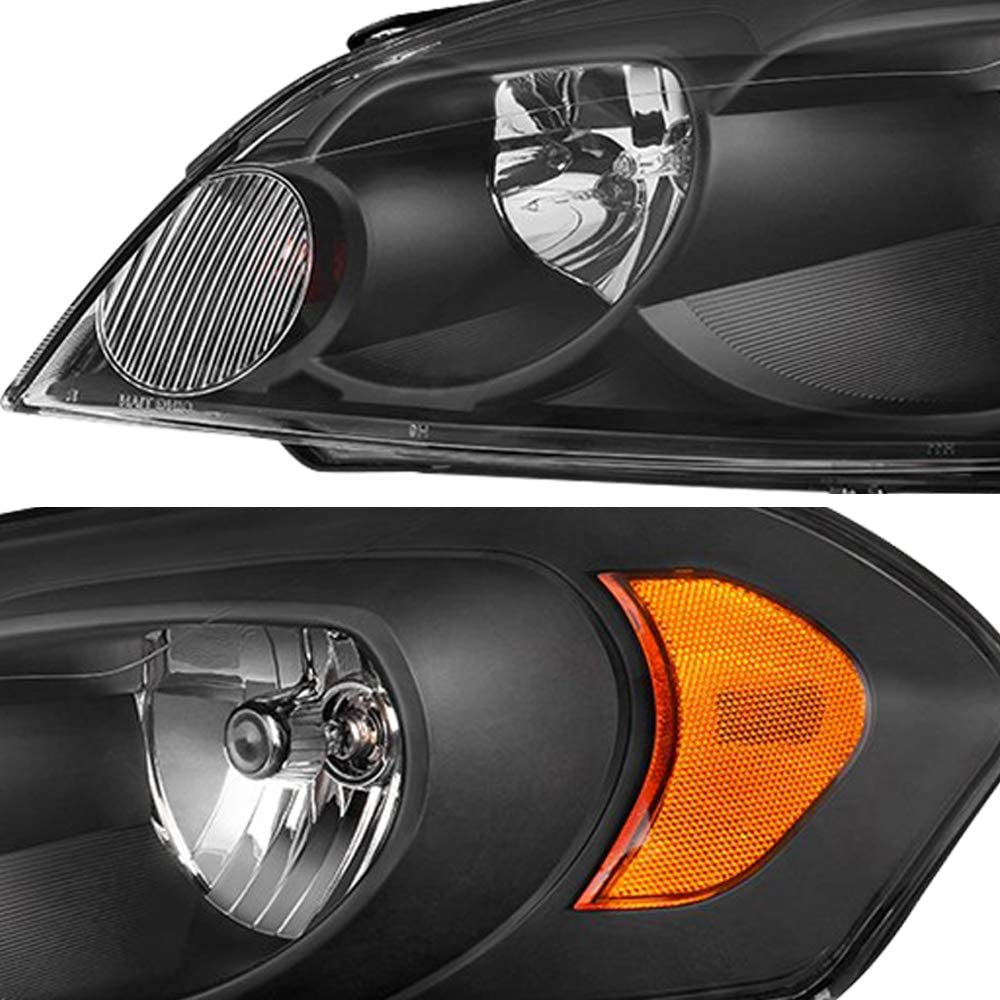 Passenger and Driver Side JSBOYAT Headlight Assembly Replacement for 06 07 Chevy Monte Carlo//06-13 Chevy Impala//14-16 Chevy Impala Limited Headlamp with Chrome Housing