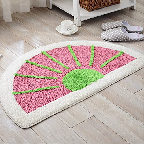 Discount JSJ_CHENG Small Bathroom Rug and Mats Cotton Striped Half Circle Watermelon (19.6inch by 31.4inch, Pink) supplier