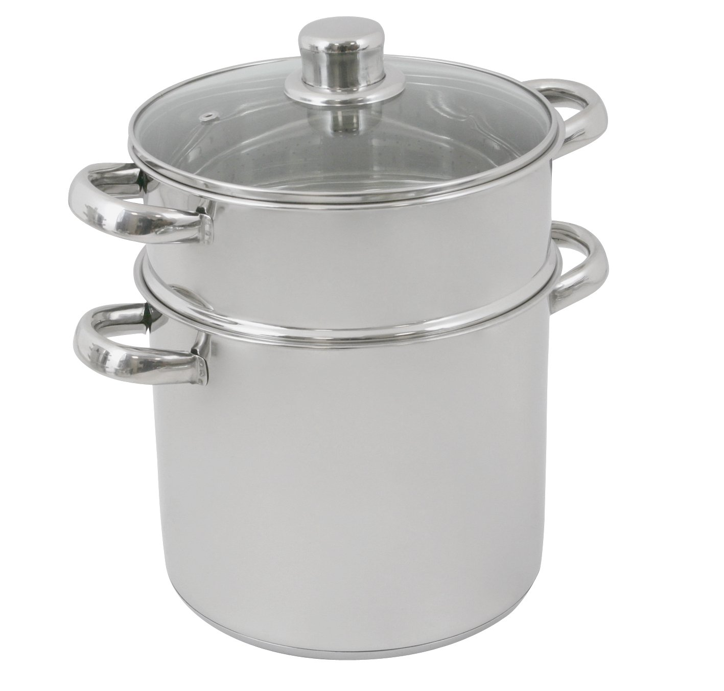 Crealys 502365 Couscous Cooker Stainless Steel with Glass Lid 12L Diameter 24 cm Olympe