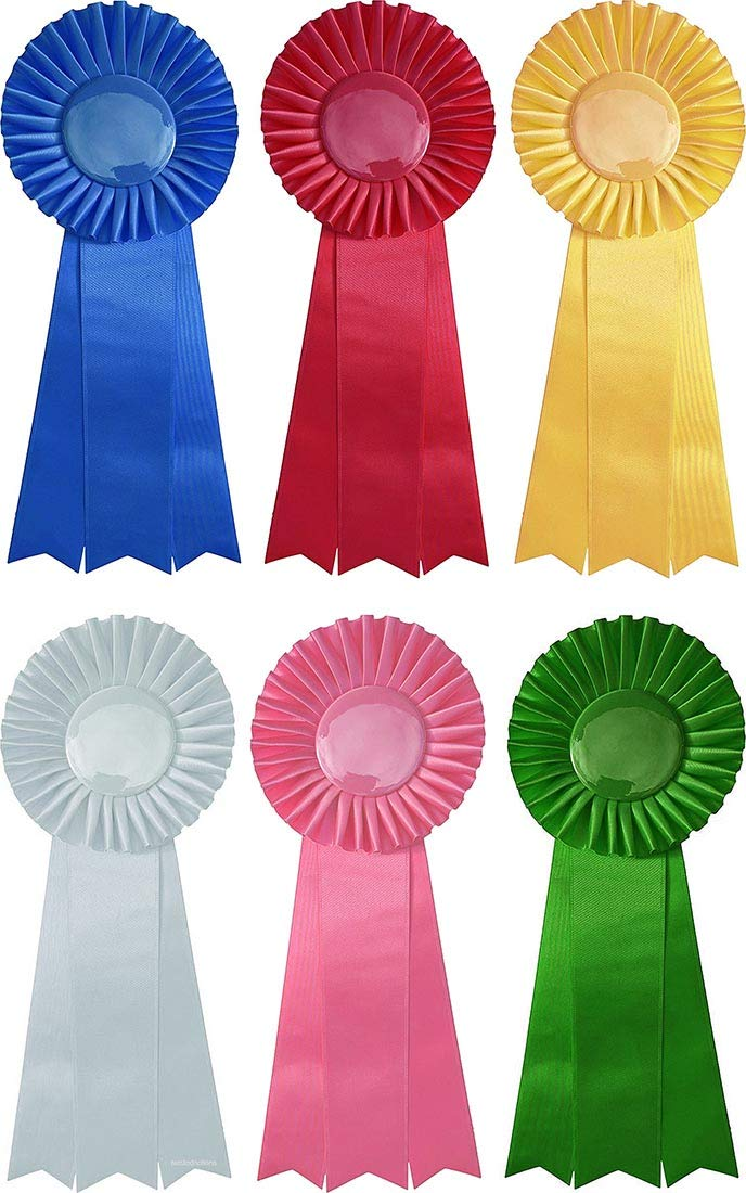 First through Sixth, 1-6 Placement Prize Ribbon Set - 6 pieces - 13'' Long - Award Rosettes - USA Made