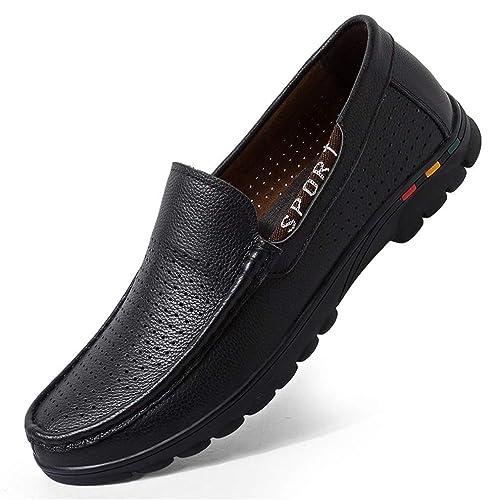 Zapatos de Hombre Zapatos Casuales Elegantes de Cuero Mocasines Zapatos Antideslizantes Zapatos de conducción de Cuero para Hombres Marrón, Negro Oficina de ...