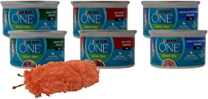 Purina ONE Premium Grain Free Wet Cat Food Pate 3 Flavor 6 Can with Catnip Toy Sampler Bundle, 2 Each: Turkey, Beef, Ocean Whitefish (3 Ounces)