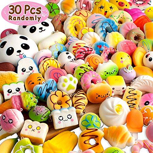 BUDI 30 Pcs Kawaii Squishies Slow Rising Jumbo/Medium/Mini Random Cake Bread Panda Bun with Phone Straps Kids Pretend Play Squishy Charms