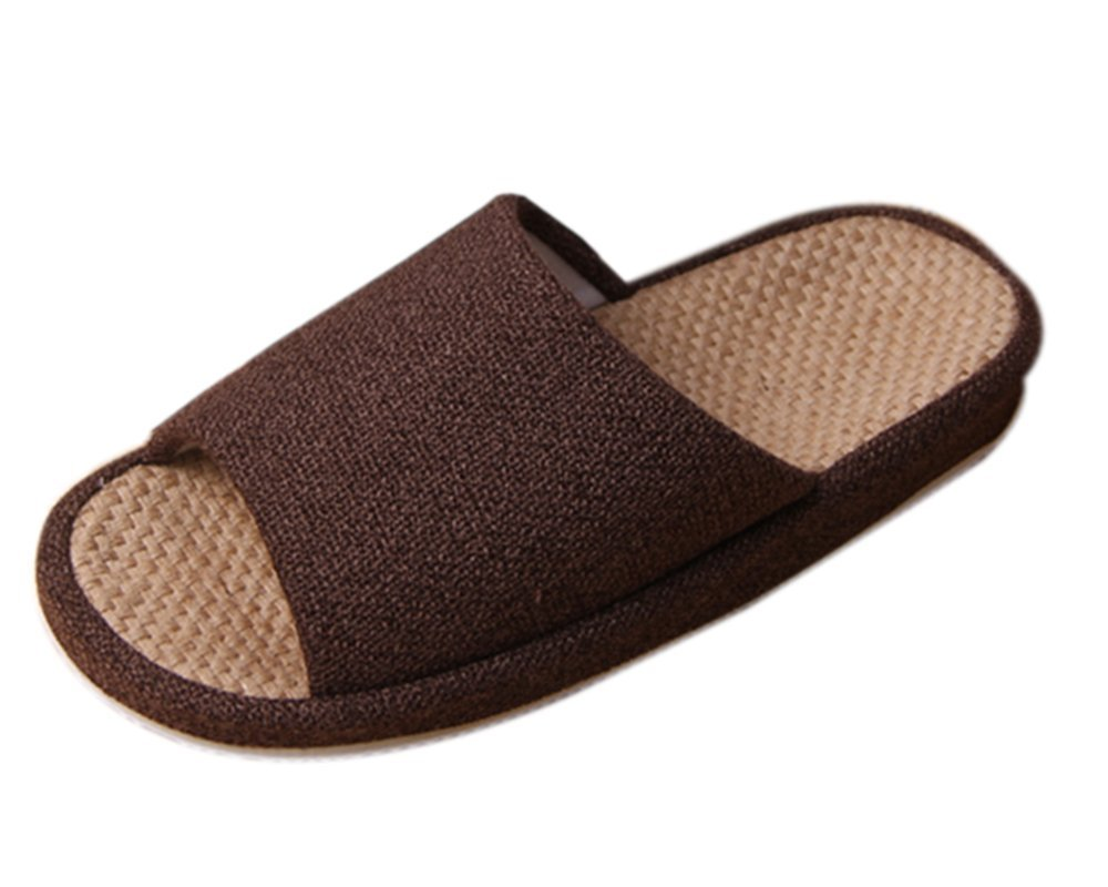 Bronze Times TM Unisex Cozy Tatami Indoor Cotton Flax House Slippers (Coffee) by Bronze Times