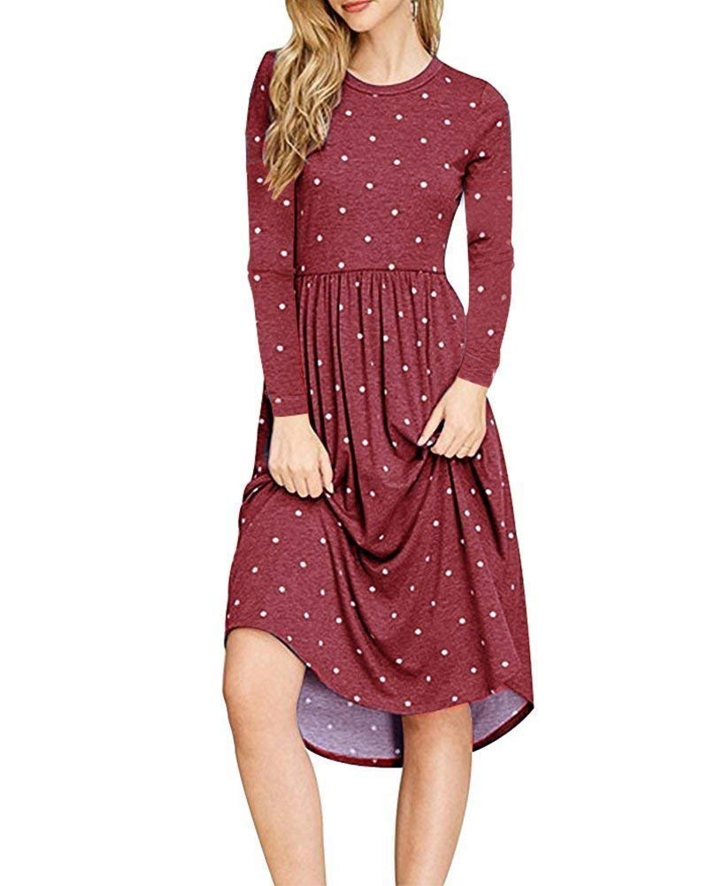 AMCLOS Women Pleated Polka Dot Pocket Swing Casual Midi T Shirt Dress Long Sleeve (Wine Red, M)