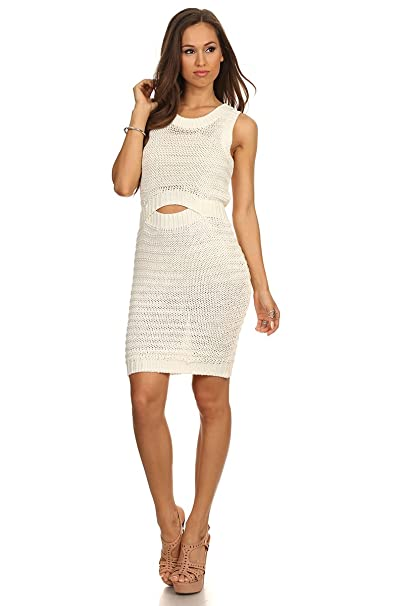 Amazon Com Meshme Womens Ivy Crochet Knit Cut Out Bodycon Dress