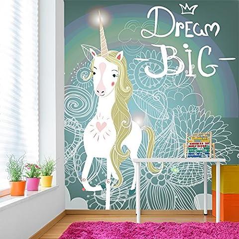 Dream Big White Unicorn Fairytale & Fantasy Wall Mural kids Photo Wallpaper available in 8 Sizes Gigantic (Fantasy Mural)