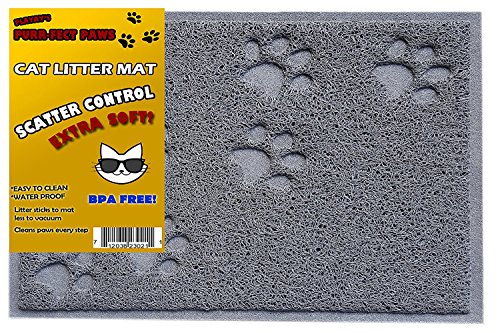 BPA Free Premium Quality Cat Litter Mat - Food Mat - small -Best Quality Cat Litter Mat Catcher Trapper with Scatter Control - Waterproof Litter Mat-Odor Repelling- Soft on Cats Paws
