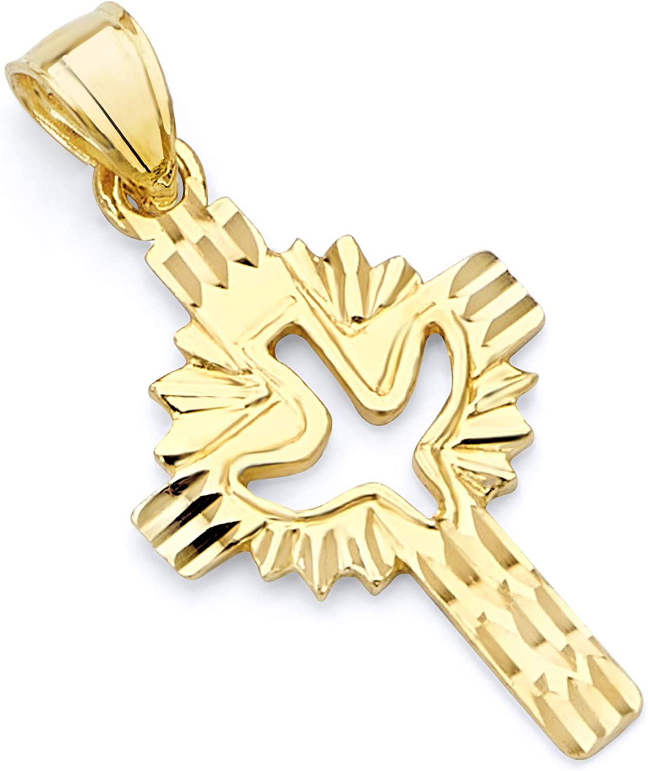 14K Yellow Gold Religious Cross with Holy Spirit Dove Charm Pendant For Necklace or Chain