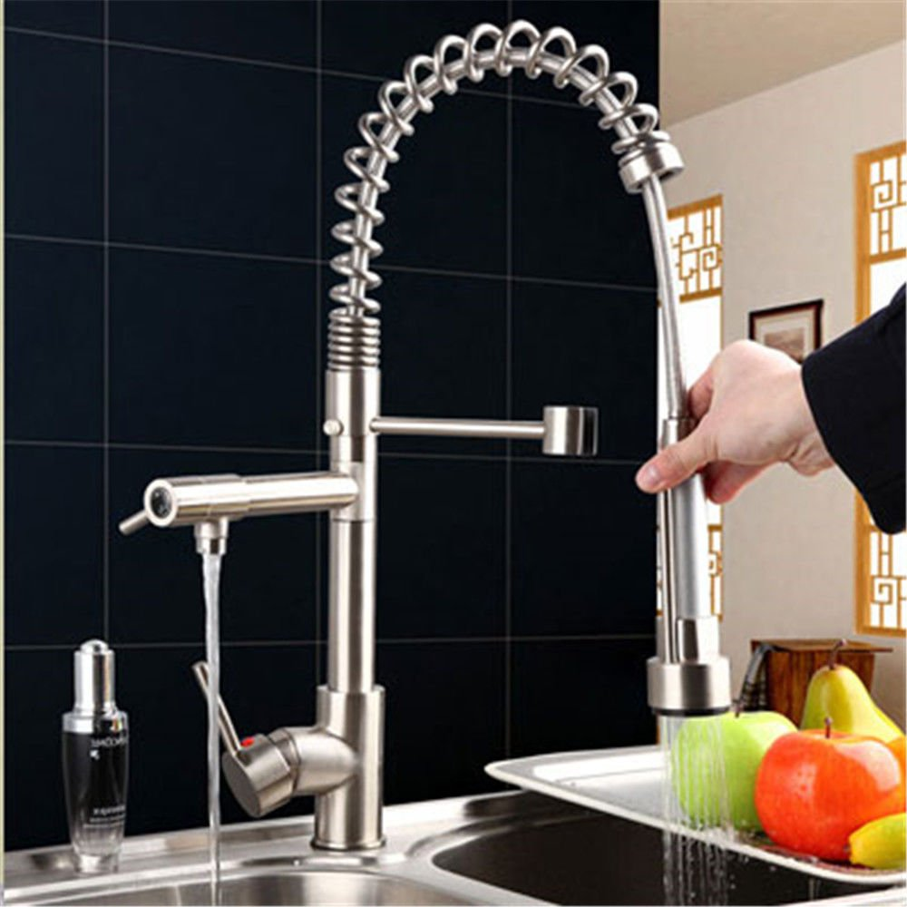 A NewBorn Faucet Kitchen Or Bathroom Sink Mixer Tap The Copper Plated High-Voltage Pull-Down Water Tap And Cold Water To Wash Dishes Slot B