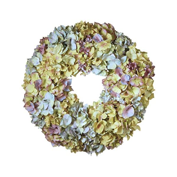 National Tree 18 Inch Floral Wreath with Mixed Hydrangea Flowers (RAS-WL418480-1)