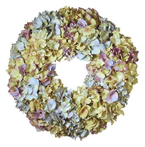 National Tree 18 Inch Floral Wreath with Mixed Hydrangea Flowers - Wreath Hydrangea