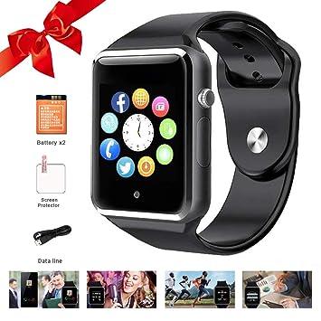Moda Bluetooth Smart Relojes Pantalla Táctil con Ranura Tarjeta SIM, Smartwatch para Android y iPhone Smart Reloj de Pulsera para Hombre Mujer Niños Negro: ...