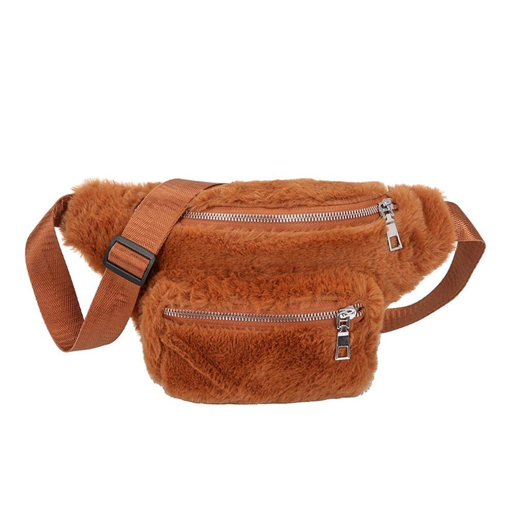 BROWN FAUX FUR WAIST FANNY BAGS