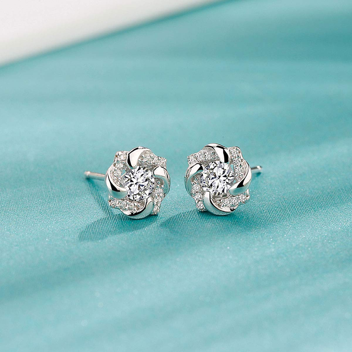 18K White Gold Plated Sterling Silver Stud Earrings For Women Fine Jewelry Weave Star Earring