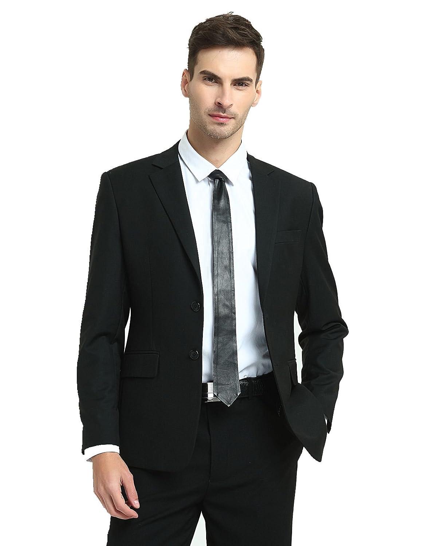 18ebd1d98d Men s Lamb Leather Tie Solid Black Skinny Necktie (BLACK) at Amazon Men s  Clothing store