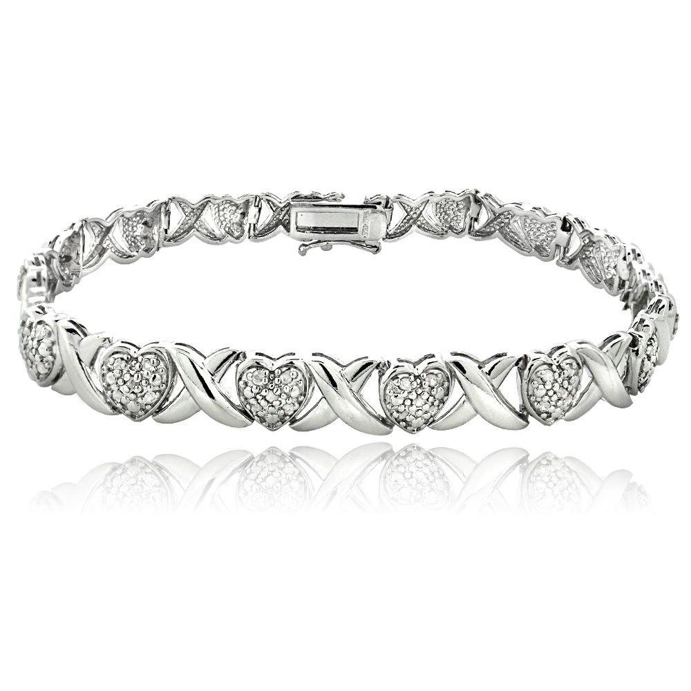 Ladies 0.36CTW Diamond 14K White Gold Finish Infinity Bangle Bracelet 7 Inch (7 Inches)