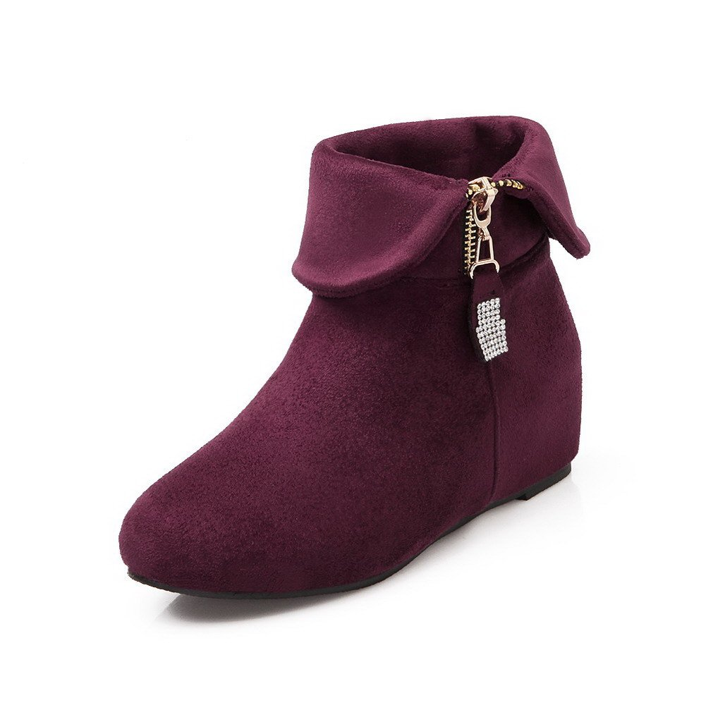 AmoonyFashion Women's Chains Kitten-Heels Imitated Suede Solid Low-top Boots, Purple, 37 by AmoonyFashion