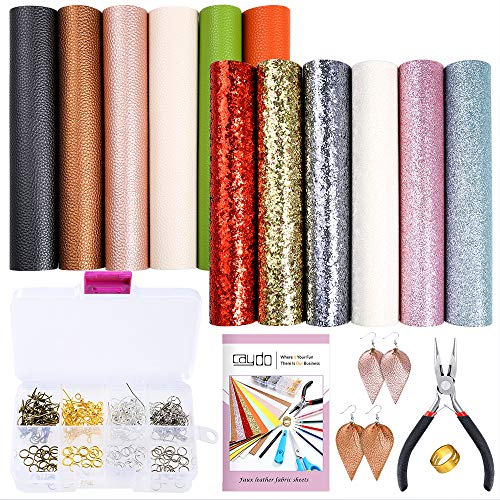 Caydo 12 Pieces Leather Earring Making Kit Include 4 Style Faux Leather Sheet, an Instructions and Tools for DIY Jewelry Earrings Craft Making - Silhouette Earrings Hook
