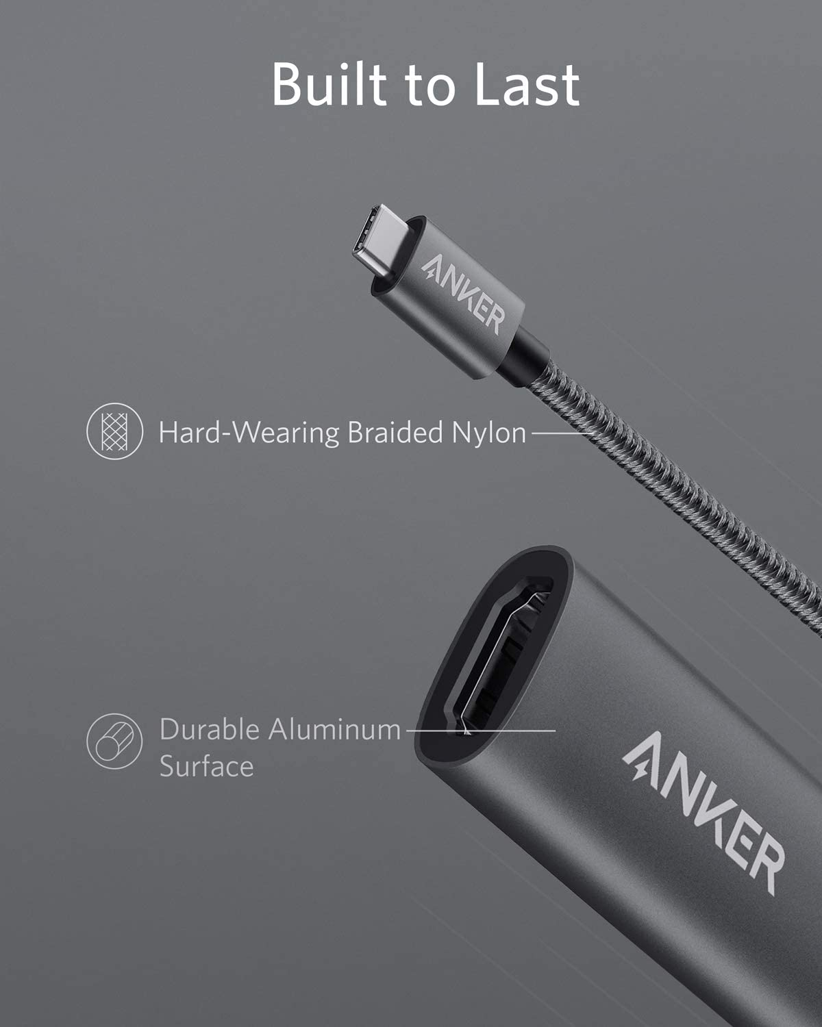 Anker USB C to HDMI Adapter (4K@60Hz), PowerExpand+ Aluminum Portable USB C Adapter, for MacBook Pro, MacBook Air, iPad Pro, Pixelbook, XPS, Galaxy, and More (Compatible with Thunderbolt 3 ports): Computers & Accessories