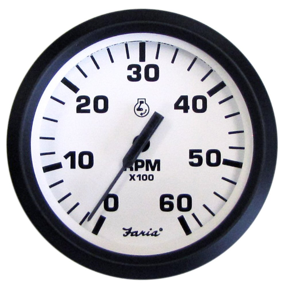 Faria Euro White 4'' Tachometer - 6,000 RPM (Gas - Inboard & I/O)