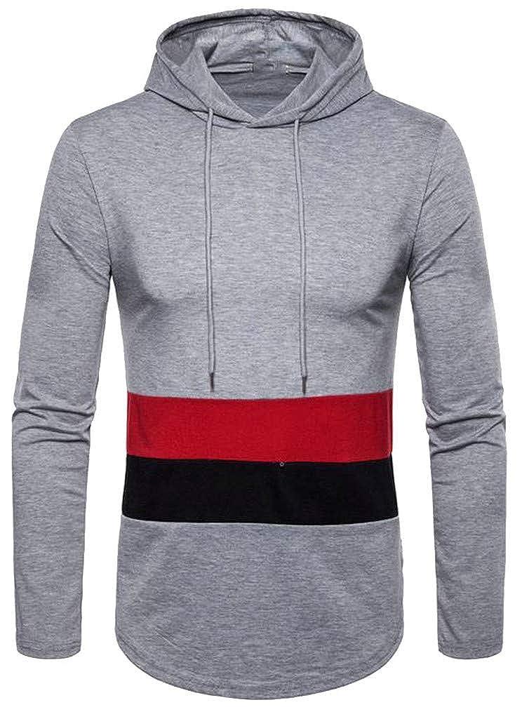 Blyent Men Contrast Color Loose Curved Hem Drawstring Pullover Hooded Sweatshirts