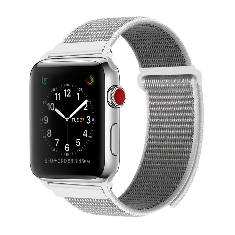 BEA FASHION for Apple Watch Band 42mm Soft Breathable Woven Nylon Replacement Sport Loop Band for Apple Watch Series 3/2/1 Seashell by BEA FASHION (Image #1)