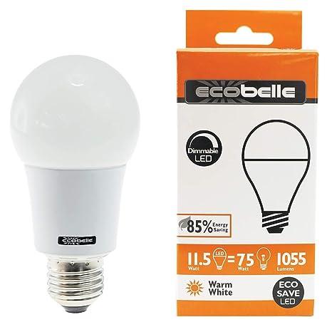 ECOBELLE® 3 x Bombillas LED E27 A60 11.5W 1055 Lúmenes (Equivalente a 75W