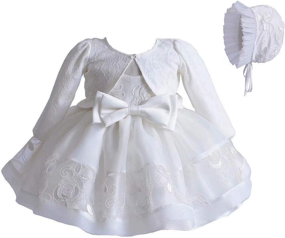 Kleine Taufe M/ütze Outfit Set Baby M/ädchen 3 TLG Set Taufkleid Wei/ße Spitze A-Linie Kleid T/üll Stickerei Lange /Ärmel Strickjacke