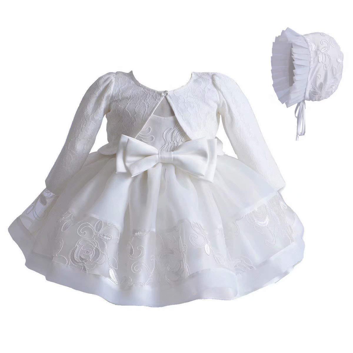 Bol/éro Manches Longues+Petit Bonnet Froufrou 3 Pi/èces Ensemble Robe de Bapt/ême en Blanc Dentelle A-Line Robe Tulle Broderie