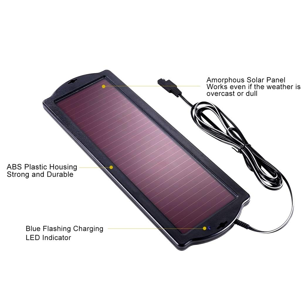 POWOXI Solar Car Battery Trickle Charger, 12V 1.8W Solar Battery Charger Car, Waterproof Portable Amorphous Solar Panel for Rv Motorcycle Watercraft by POWOXI (Image #5)