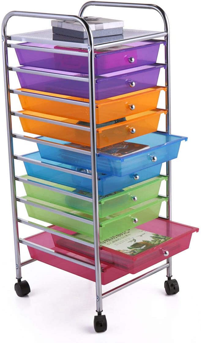 Rolling Drawer Cart with 10 Storage Organizer for Scrapbook Paper Office School