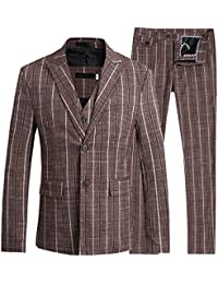 Mens 2 Buttons 3 Piece Suit Stripe Smart Wedding Blazer Jacket Vest & Pants