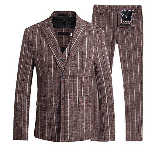 Mens Pinstripe 3 Piece Slim Fit Suit Smart Wedding Blazer Jacket Tux Vest & Trousers