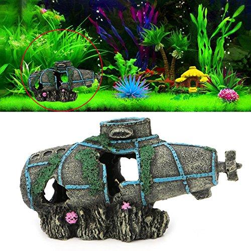 Techinal Aquarium Fish Tank Ornament Sunken Submarine Hiding Cave Landscaping Decoration