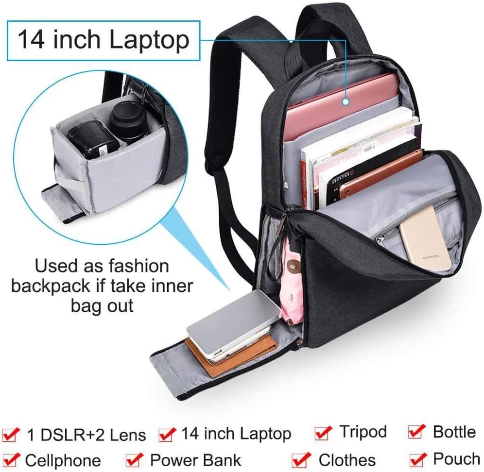 He-lanshangmaobu Fashion Camera case DSLR Camera Bag Waterproof Backpack Shoulder Laptop Digital Camera /& Lens Photograph Luggage Bags case for Canon Nikon Color : Black