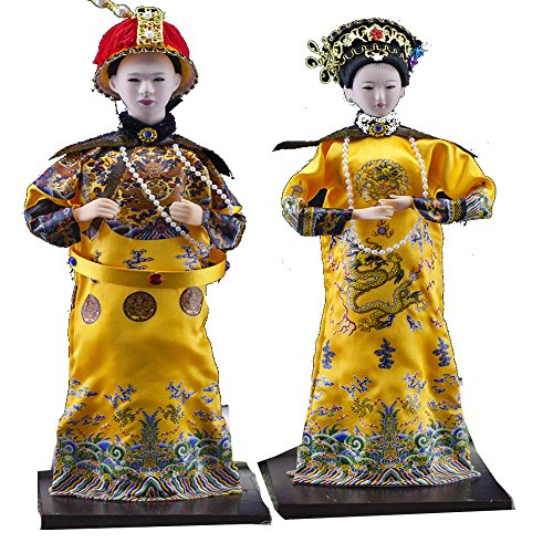 2Pcs 32cm Handmade Vintage Chinese Asian Doll Queen and Emperor of Qing Dynasty Brocade Clothing firgurine Imperial Palace (Chinese Collectible Doll)