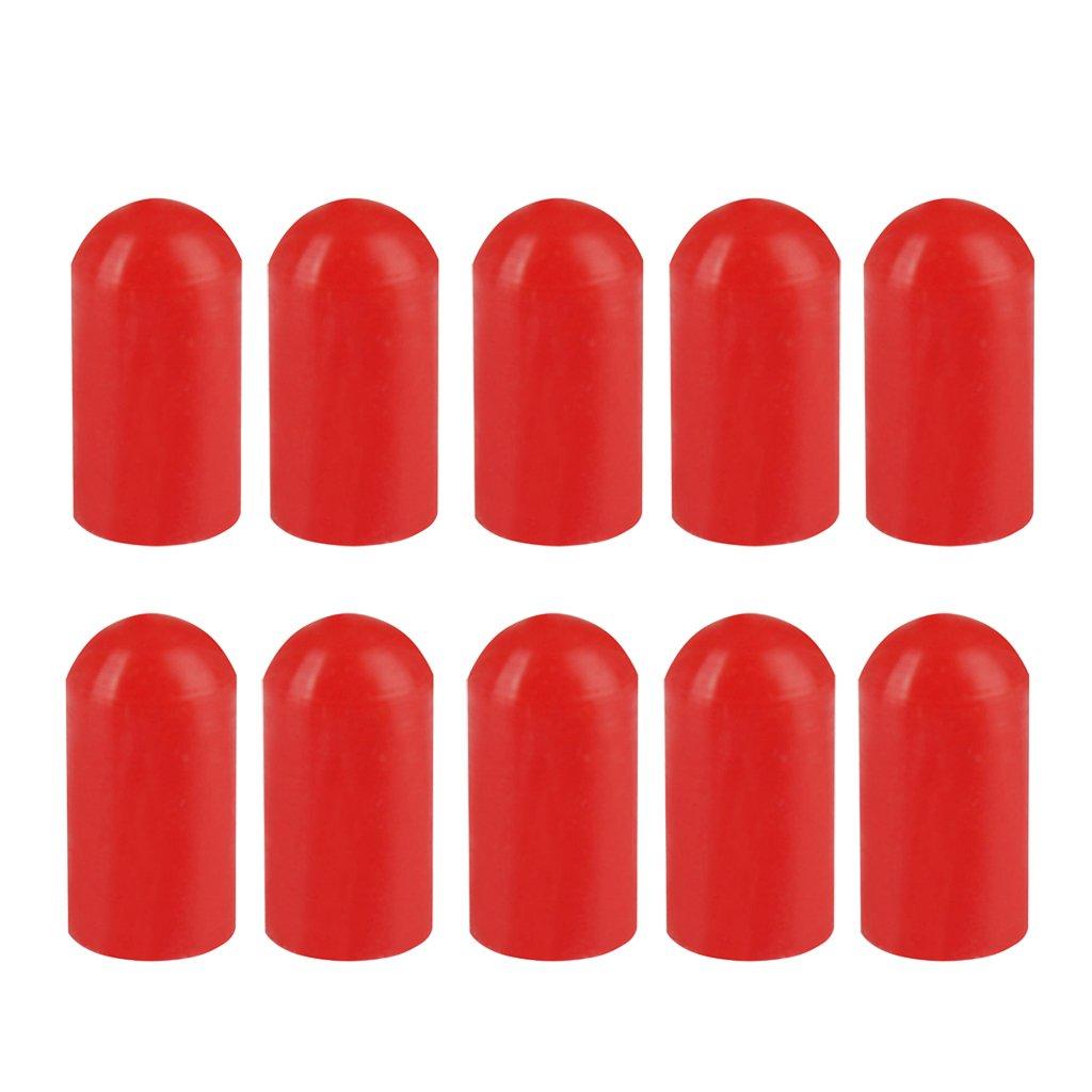 IPOTCH 10 x Cubiertas para Baquetas Mnaga de Caucho de Material Silicona Duradero de Protege - Rojo, como se describe