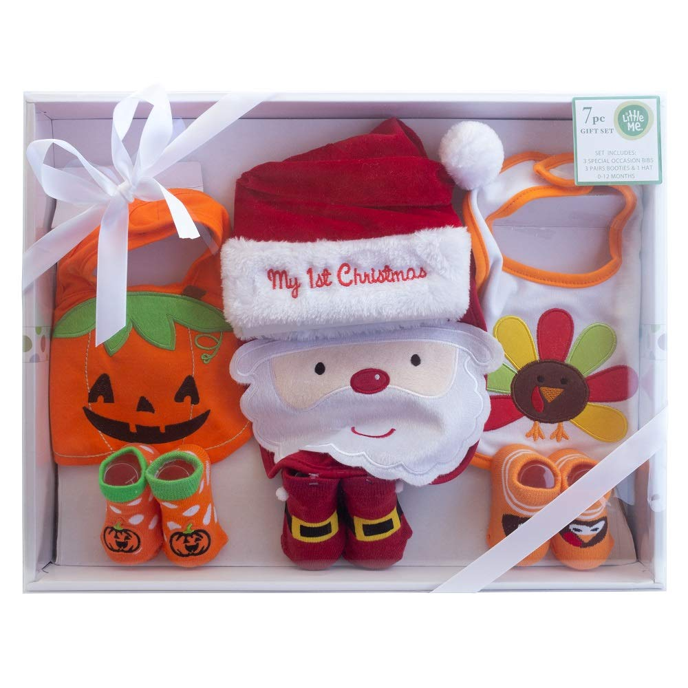 Amazon.com  Little Me Unisex 7-Piece Holiday Baby Accessories Set- Adorable  Special Occasion Baby Gift Set- Holiday Bibs 9061e130d91d