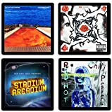 Red Hot Chili Peppers RHCP Coaster Gift Collection - (4) Different Album Covers Reproduced Onto Absorbent, Soft, Drink Coasters
