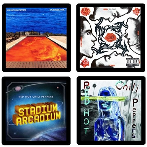 (Red Hot Chili Peppers - Collectible Coaster Gift Set #1 ~ (4) Different Album Covers Reproduced on Soft Pliable Coasters)