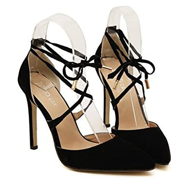 c7e8abf94ce2 Image Unavailable. Image not available for. Color  New Summer Style Women s  Lace Up High Heels Pointed Toe Bandage shoes
