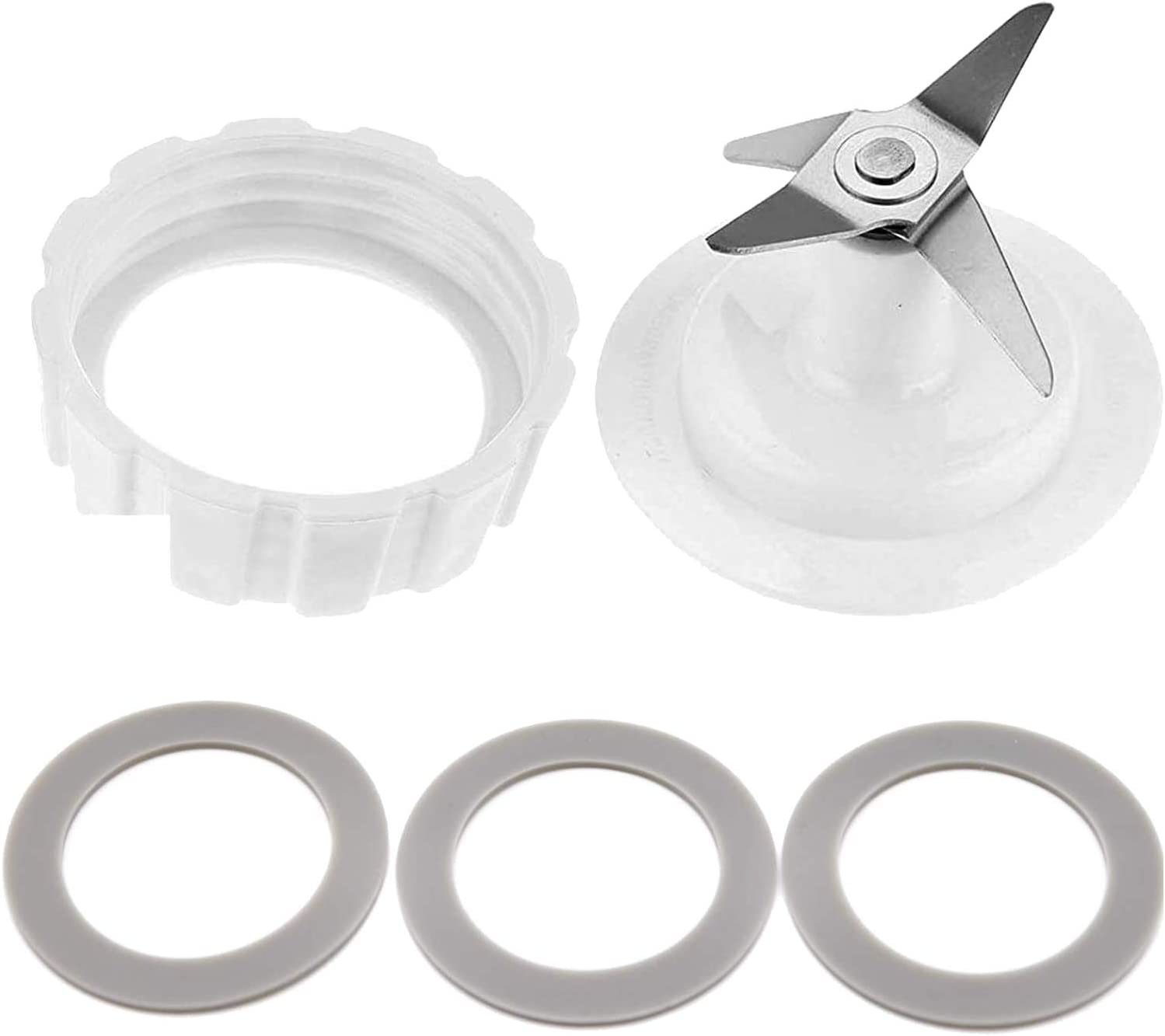 White Replacement Blade Gasket Blender Base Bottom Cap and 3 Rubber O Ring Sealing Gaskets Blade Fit for Hamilton Beach Blender Replacement Mixer Parts with Screw Cap and Rubber Gasket, Screw Cap
