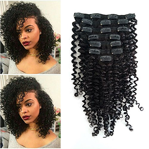 Double Weft 100% Remy Human Hair Clip In Extensions,Afro Jerry Curl For Black Women #Natural Black 3B 3C 7 Pieces with 17 Clips 120g/4.2oz,16 inch per set