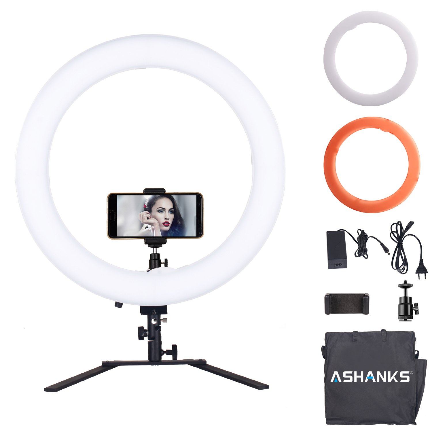 ASHANKS 18in Dimmable LED Ring Light with Stand Professional Studio Photography 5500K Fluorescent Continuous Light Kit with Phone Holder for Makeup, Camera Photo YouTube Video Shooting