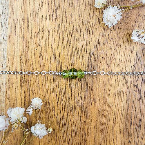 Dainty peridot gemstone choker necklace in 925 sterling silver - 12