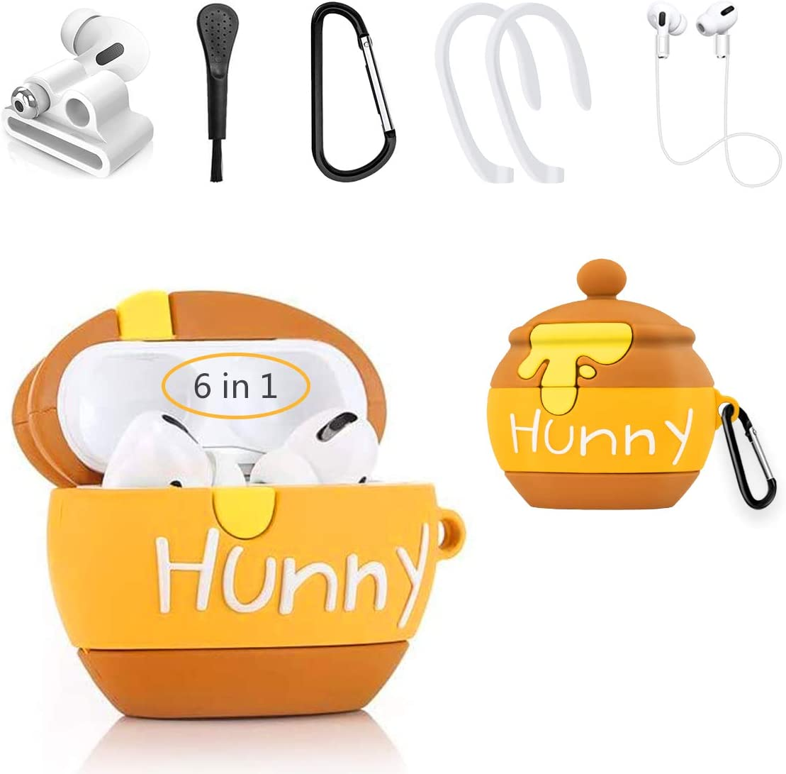 Alquar Case Compatible for Airpods Pro,3D Cute Cartoon Fun Food Fashion Shockproof Silicone Case Cover,with Keychain 6 in1 Accessories Set for Kids Girls Women Teens (Honey Pot)