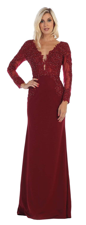 Burgundy Formal Dress Shops Inc FDS1630 Long Sleeve Formal Designer Gown