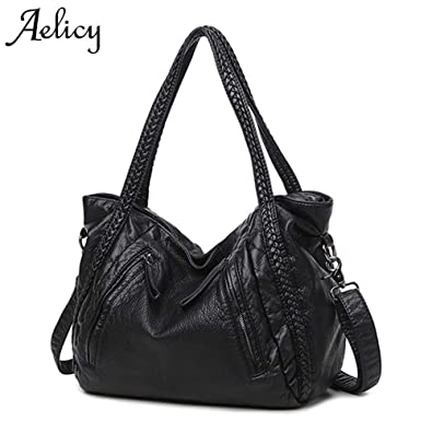 0c4f315b68 Amazon.com  Aelicy New Large Soft Leather Bag Women Handbags Ladies  Crossbody Bags For Women Shoulder Bags Female Big Tote bolsos mujer Color  Black Middle  ...